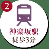2. 神楽坂駅徒歩3分
